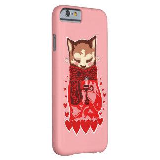 Caso rosado del iPhone acogedor 6/6s del gato y de Funda De iPhone 6 Barely There