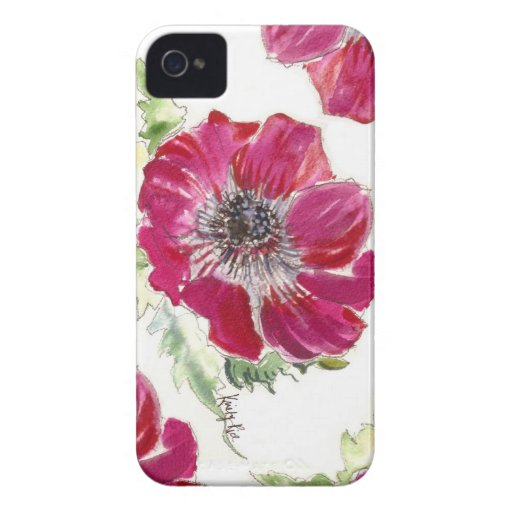 Caso rosado del iPhone de la acuarela de la anémon iPhone 4 Case-Mate Carcasa