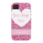 Caso rosado del iPhone de la foto del corazón del  Vibe iPhone 4 Carcasa