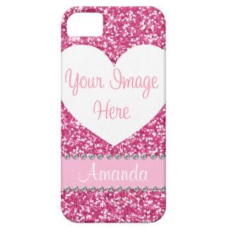 Caso rosado del iPhone de la foto del corazón del iPhone 5 Funda