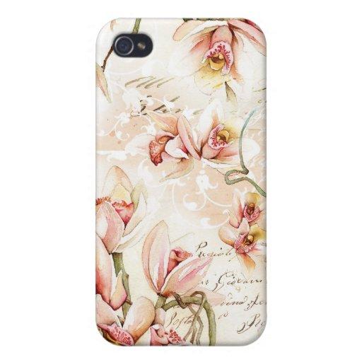 Caso rosado del iPhone de la orquídea iPhone 4 Protectores