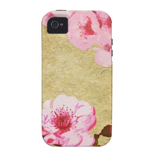 Caso rosado del iPhone del flor iPhone 4/4S Carcasas