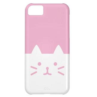 caso rosado del iphone del gato