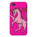Caso rosado del iphone del unicornio iPhone 4 funda