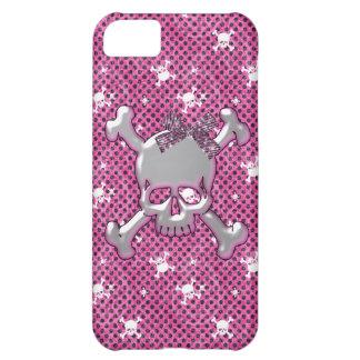 Caso rosado del iPhone lindo 5 de los cráneos y de
