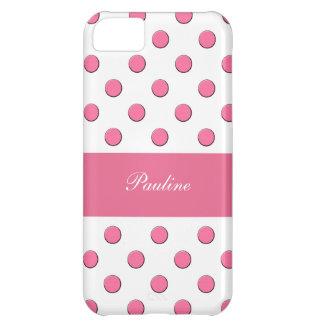 Caso rosado del monograma del iPhone 5C