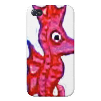 Caso rosado del Seahorse iPhone 4 Protectores