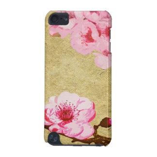 Caso rosado del tacto de iPod del flor