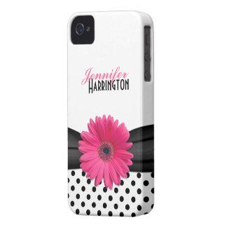 Caso rosado elegante del iPhone 4 del lunar de la