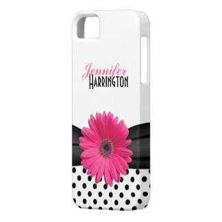 Caso rosado elegante del iPhone 5 del lunar de la  iPhone 5 Protectores