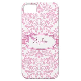 Caso rosado femenino de Iphone 5 del damasco Funda Para iPhone 5 Barely There