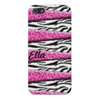Caso rosado femenino de la cebra Iphone5 del brill iPhone 5 Carcasa