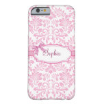 Caso rosado femenino del iPhone 6 del damasco Funda Para iPhone 6 Barely There