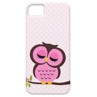 Caso rosado lindo del búho para el iPhone 5 Funda Para iPhone 5 Barely There