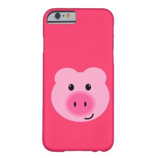 Caso rosado lindo del iPhone 6 del cerdo Funda Para iPhone 6 Barely There