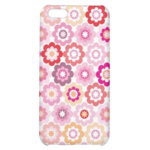 Caso rosado lindo del iphone de la flor