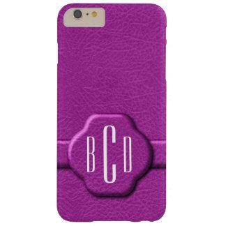 Caso rosado simulado del monograma de la letra del funda de iPhone 6 plus barely there