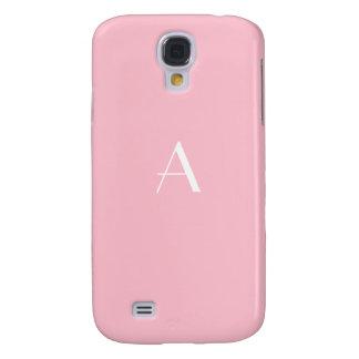 Caso rosado suave femenino del monograma Galaxy4