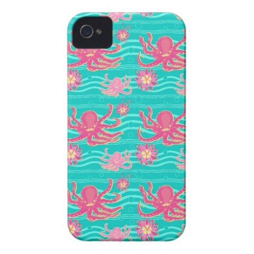Caso rosado subacuático del modelo del pulpo Case-Mate iPhone 4 protector