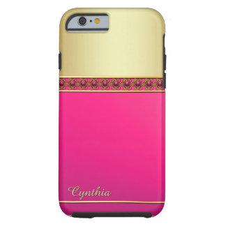 Caso rosado y dorado atractivo del iPhone 6 Funda Para iPhone 6 Tough