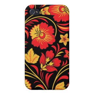 Caso ruso del iPhone del arte popular de Khokhloma iPhone 4/4S Funda