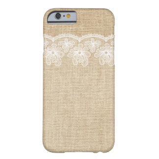 Caso rústico del iPhone 6 de la arpillera y de la Funda De iPhone 6 Barely There