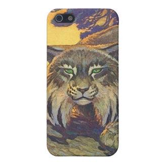 caso salvaje del iPhone 4 de los gatos del lince d iPhone 5 Protectores