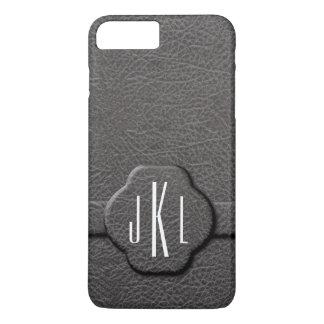 Caso simulado del monograma de la letra del cuero funda iPhone 7 plus