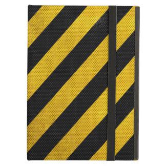 Caso superior del iPad de la raya negra y amarilla