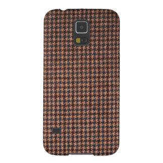 Caso: Tela del tweed de Brown Funda Para Galaxy S5