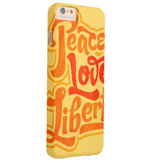 Caso tipográfico de la libertad del amor de la paz funda de iPhone 6 plus barely there