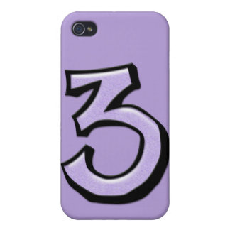Caso tonto del iPhone 4 de la lavanda del número 3 iPhone 4 Carcasa