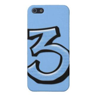 Caso tonto del iPhone 4 del azul del número 3 iPhone 5 Coberturas