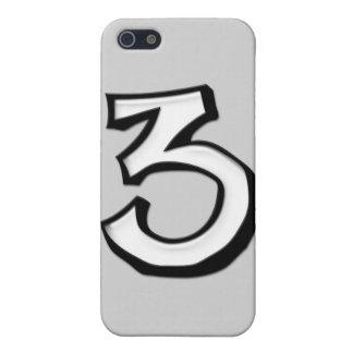 Caso tonto del iPhone 4 del blanco del número 3 iPhone 5 Cárcasa