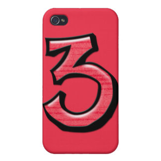 Caso tonto del iPhone 4 del rojo del número 3 iPhone 4 Carcasa