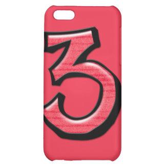 Caso tonto del iPhone 4 del rojo del número 3