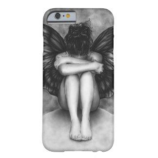 Caso triste del iPhone 6 del chica de la mariposa Funda De iPhone 6 Barely There