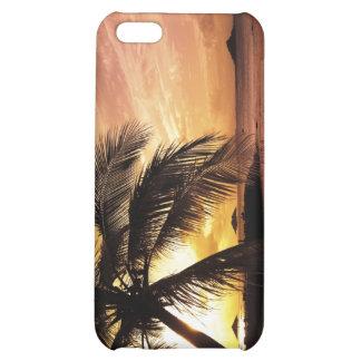 Caso tropical del iphone 4 de la puesta del sol de