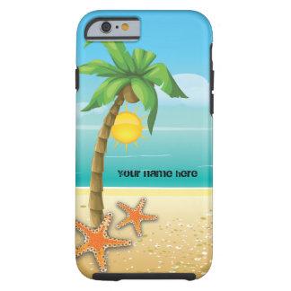Caso tropical del paisaje de la palmera y de las funda para iPhone 6 tough