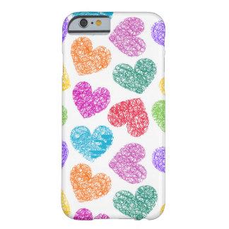 Caso vibrante del iPhone 6 de los corazones Funda De iPhone 6 Barely There