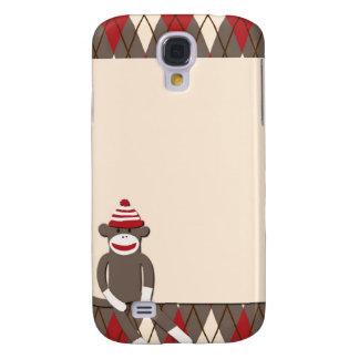 Caso vivo de HTC del mono del calcetín de Argyle Funda Para Galaxy S4