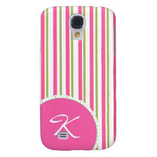 Caso vivo de HTC del monograma rayado femenino Funda Para Galaxy S4