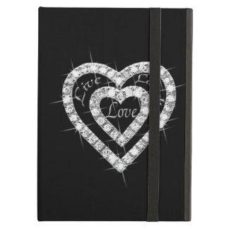 Caso vivo del iPad de los corazones del diamante d