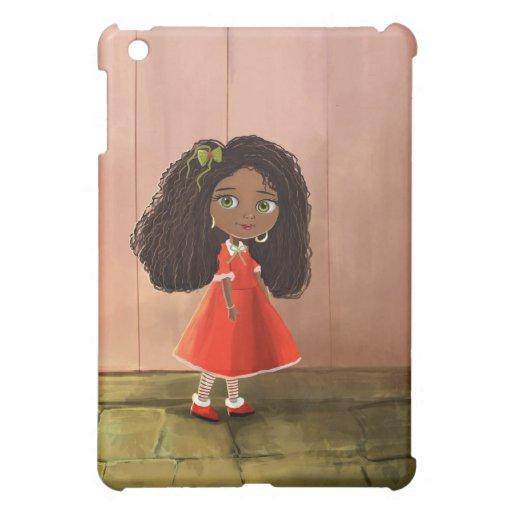 Casos afroamericanos del iPad del chica del dibujo