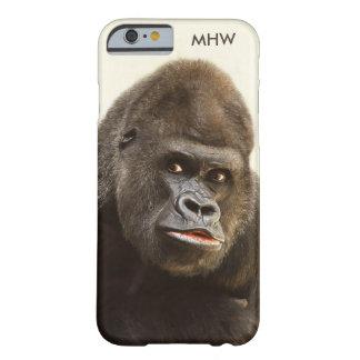 Casos de encargo del monograma del gorila funda de iPhone 6 barely there