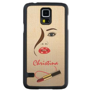Casos de madera de Carved® Samsung S5 de la cara y Funda De Galaxy S5 Slim Arce