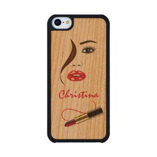 Casos de madera del iPhone 5C de Carved® de la Funda De iPhone 5C Slim Cerezo
