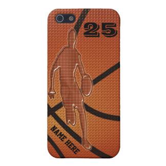 Casos del baloncesto para el iPhone 5S con NOMBRE iPhone 5 Protector