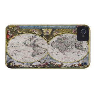 Casos del iPhone 4 del mapa del mundo del vintage  Case-Mate iPhone 4 Funda