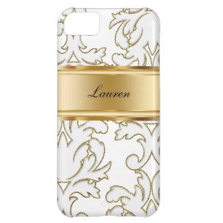 Casos del iPhone 5C del monograma del damasco